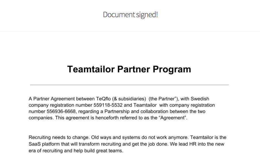 TEQFLO PARTNERS WITH TEAMTAILOR